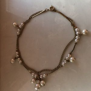 Vintage anklet with two chains, pearl clusters